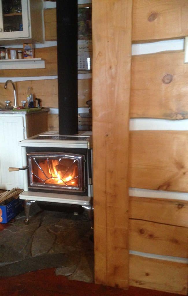 wood burning stove in cabin