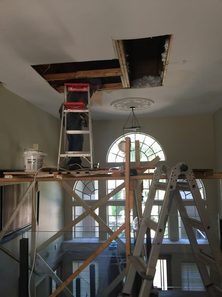 Removing the damage from the roof leak