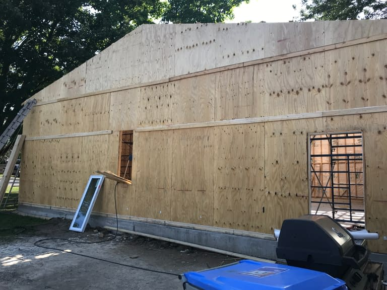 windows and plywood installation