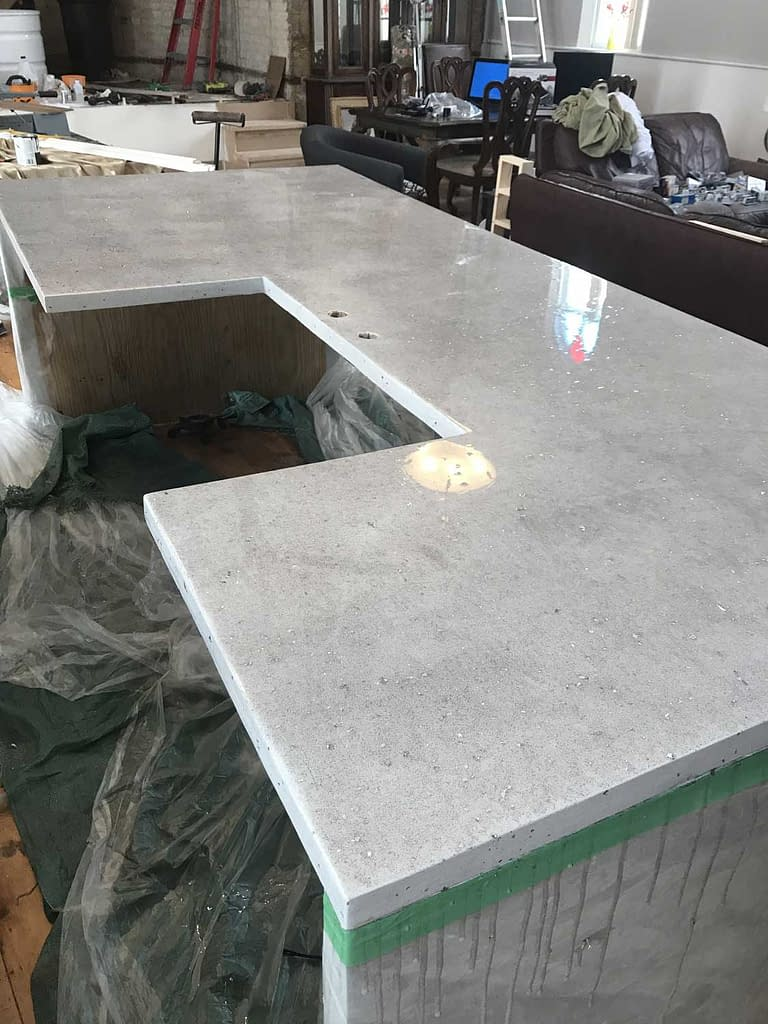 quartz look counter ready for sink