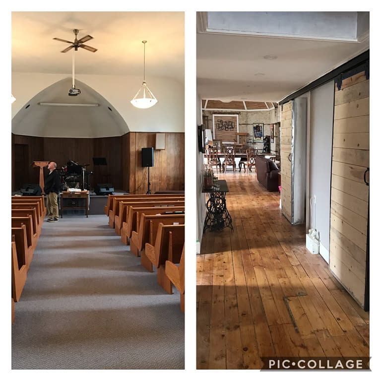 Before and after of hallway