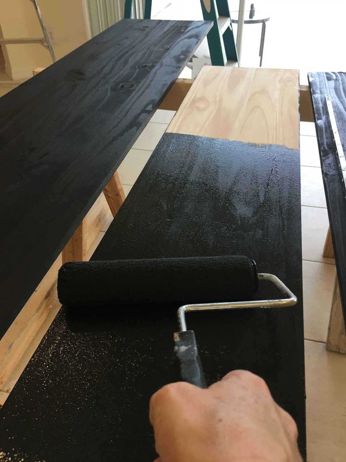painting the shelving black