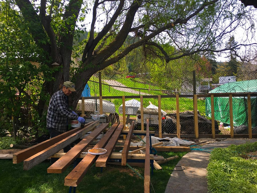 staining wood for railings