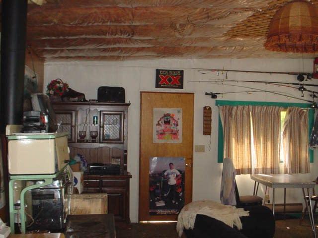 Front door of cabin before renovation