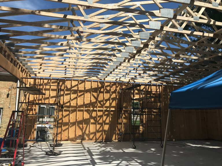 Roof trusses installed