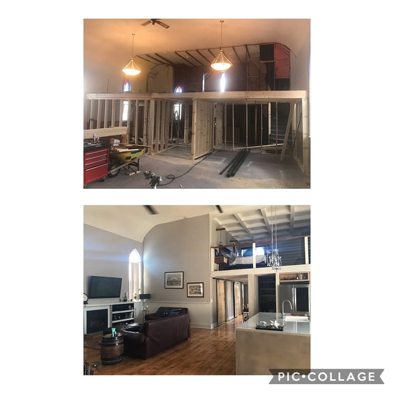 before and after of loft and living room