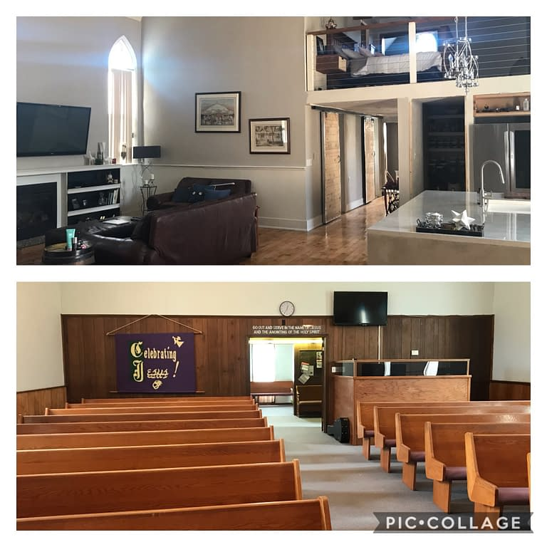before and after inside church renovation
