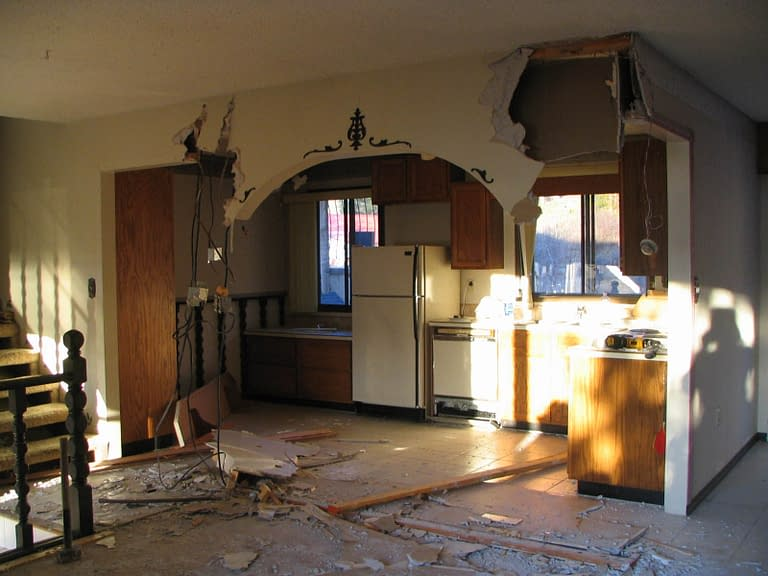 Tearing out the old kitchen