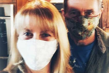 Bonnie and John in masks