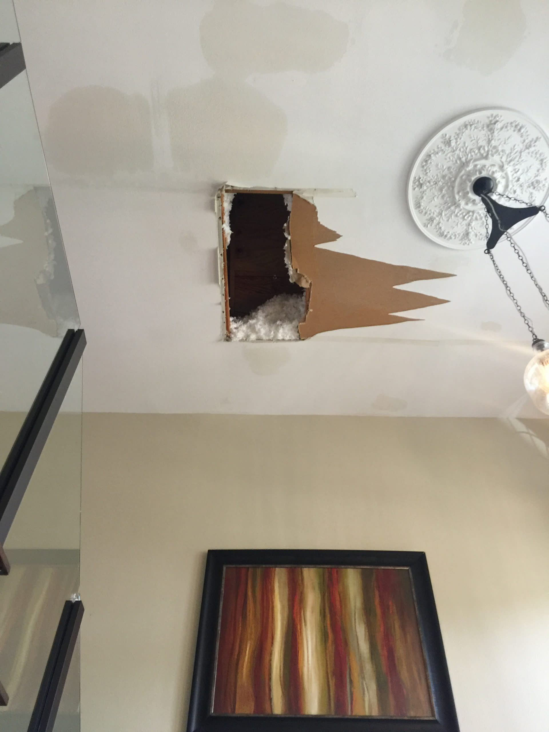 Hole in the ceiling after roof leaked