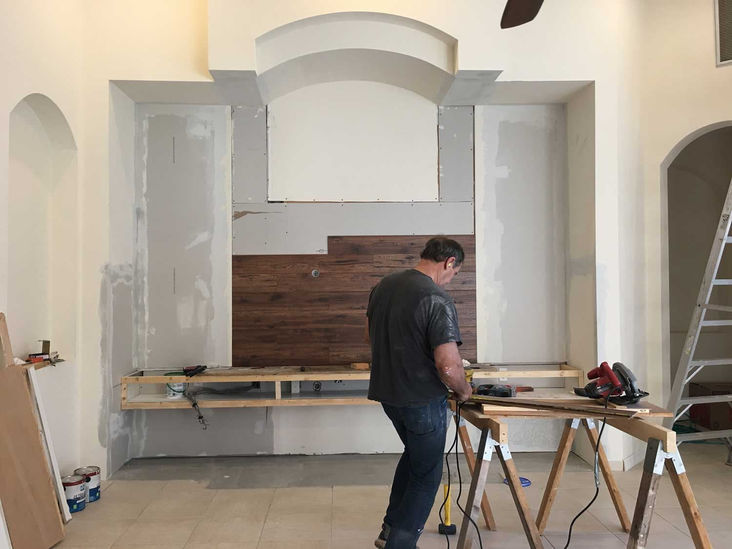 planks being installed on wall