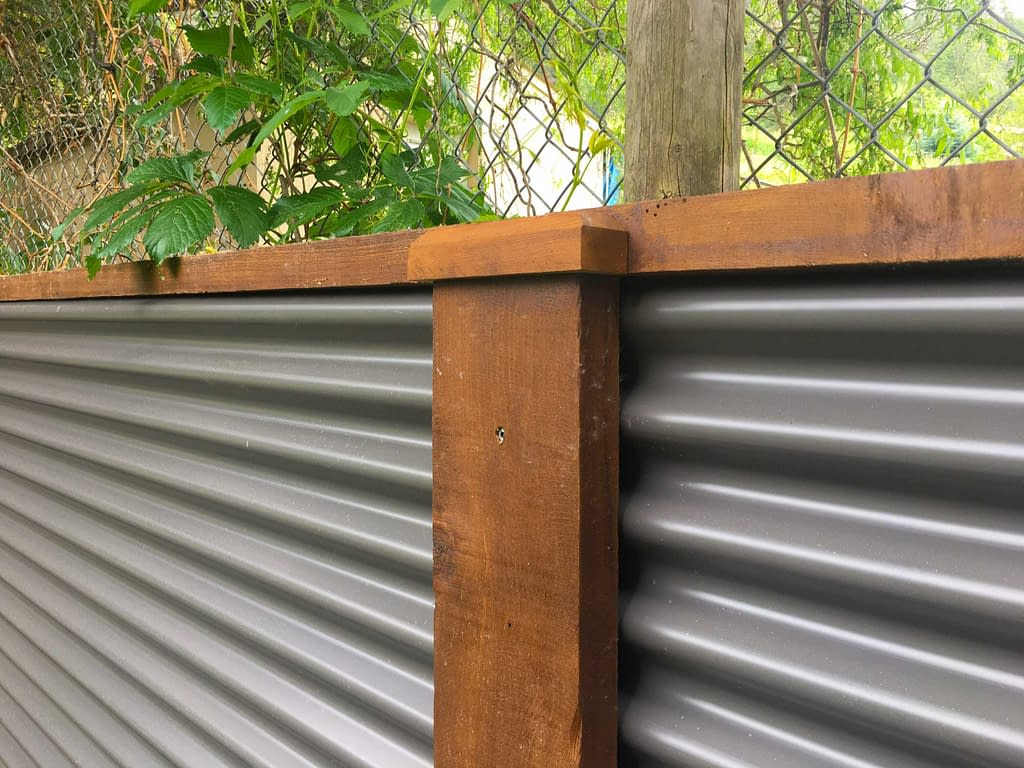finished corrugated metal fence